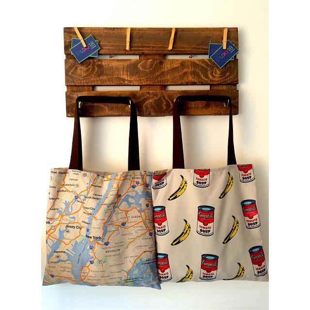 lindos bolsos y percheros decorativos palet wood totebag andywarhol nyc newyorkcity map design art fashion